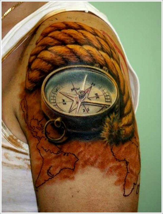 Compass Pointing East Tattoo Compass-tattoo-designs-17